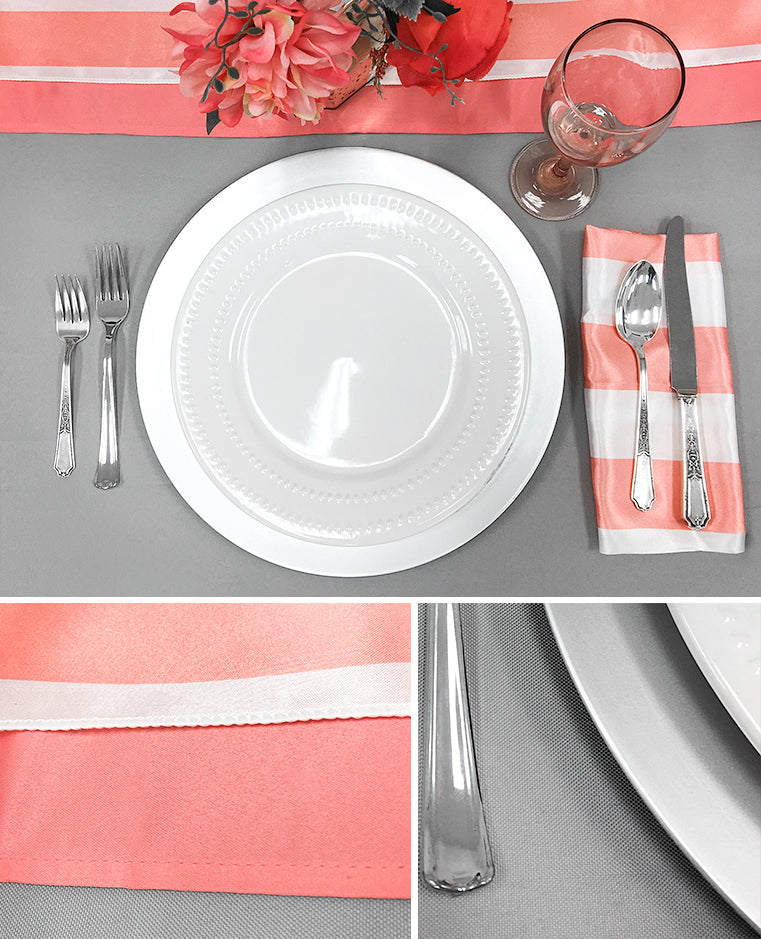 coral table runners gray polyester tablecloth