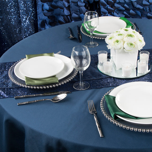 cloth napkins for weddings green napkins on navy blue tablecloths