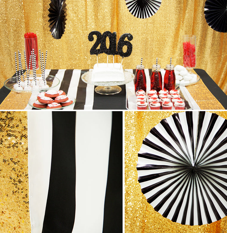 black & white table runners new years