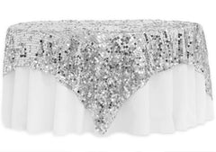 Large Payette Sequin Table Overlay Topper 90″x90″ Square – Silver