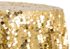 "Large Payette Sequin 132"" Round Tablecloth - Gold"