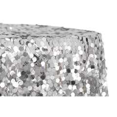"Large Payette Sequin Round 120"" Tablecloth - Silver"