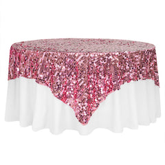 "Large Payette Sequin Table Overlay Topper 85""x85"" Square - Pink"