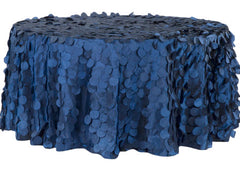 Petal Circle Taffeta Round 120″ Tablecloth – Navy Blue