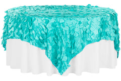 "Petal Circle Taffeta 90""x90"" Square Table Overlay - Light Turquoise"