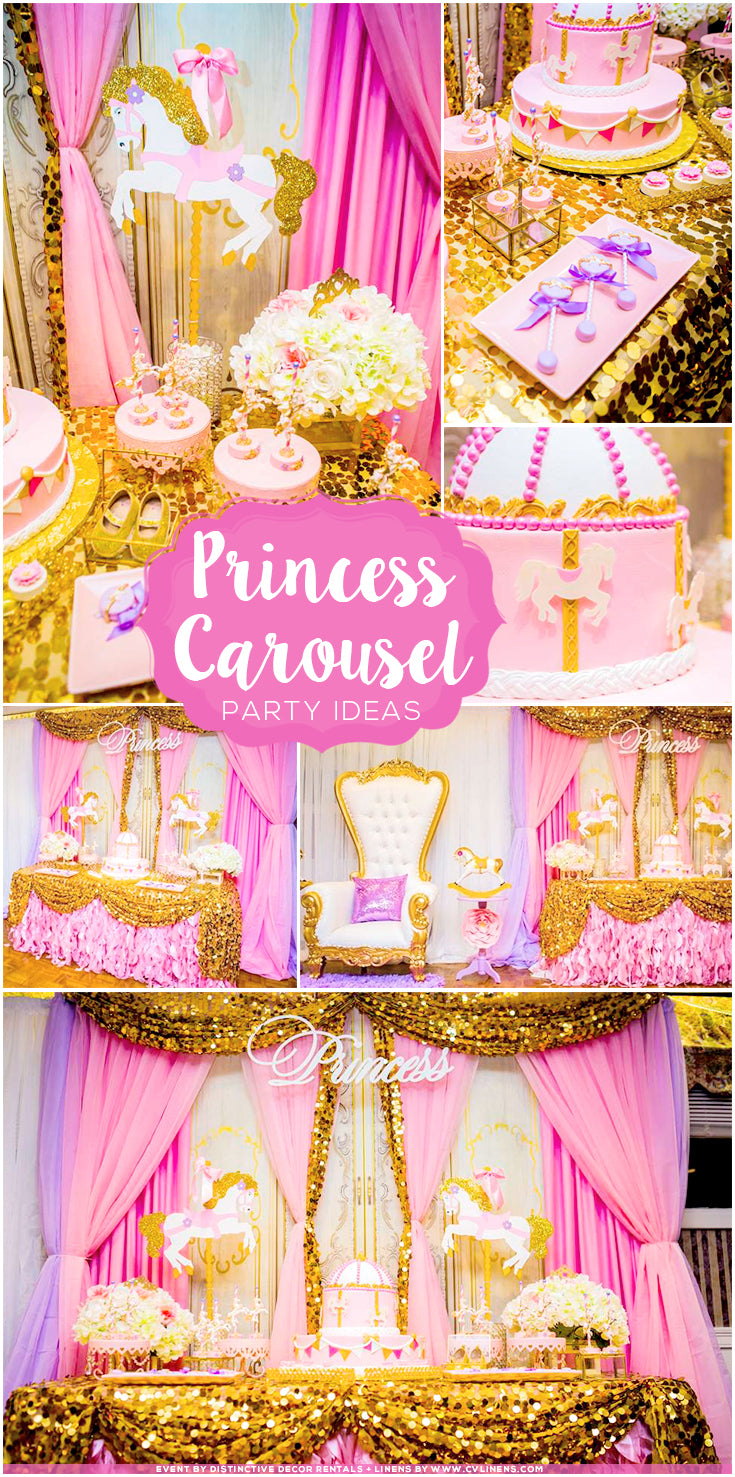 Pinterest Pin Princess Carousel Baby Shower with pink, lavender, and gold sequins