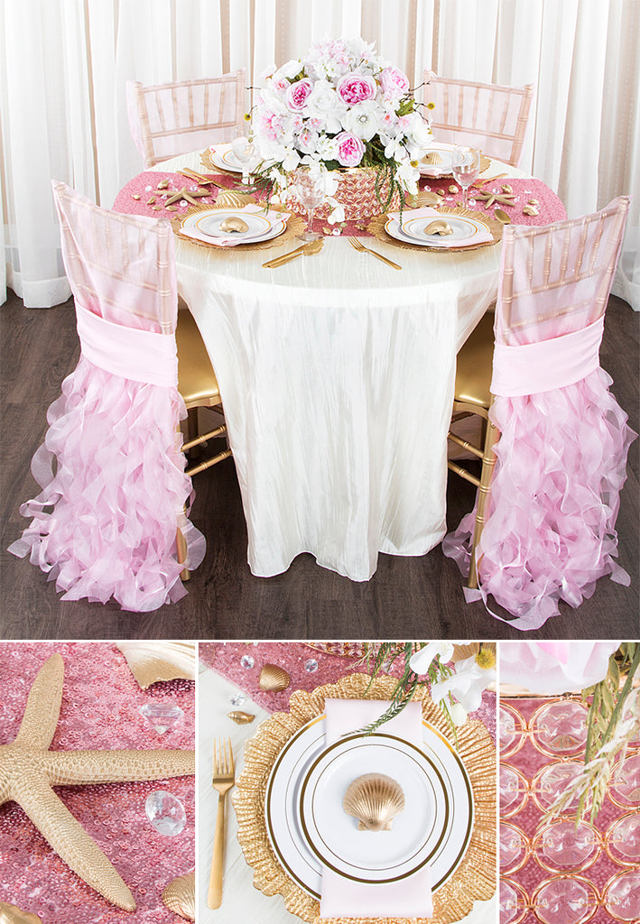 pink and gold beach themed wedding with sequins and curly willow