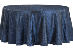Pintuck 120″ Round Tablecloth – Navy Blue