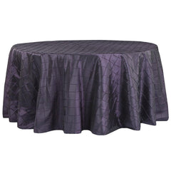 "Pintuck 132"" Round Tablecloth - Eggplant/Plum"