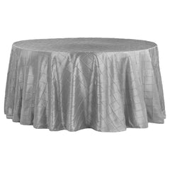 "Pintuck 120"" Round Tablecloth - Silver"