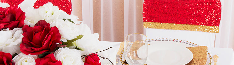 Sweetheart Table Decor with sequin chair bands and drapes