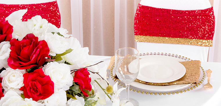 Sweetheart Table Decor in red and gold
