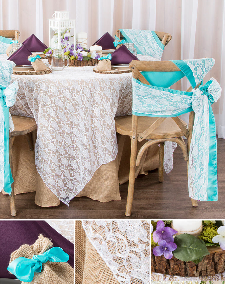 rustic table setting idea with plum, lace, turquoise, and burlap
