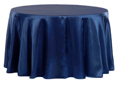 Satin 120″ Round Tablecloth – Navy Blue
