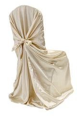 Universal Satin Self Tie Chair Cover - Champagne