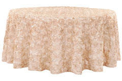 "Wedding Rosette SATIN 120"" Round Tablecloth - Champagne"