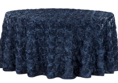 Wedding Rosette SATIN 120″ Round Tablecloth – Navy Blue