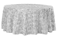 "Wedding Rosette SATIN 120"" Round Tablecloth - Silver"