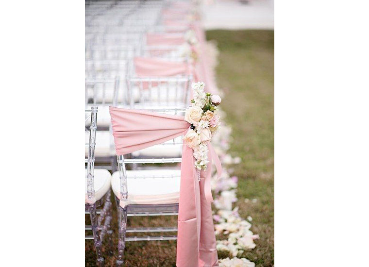 Secret to Affordable Home Wedding Decorations Ceremony Chairs Sash Tie