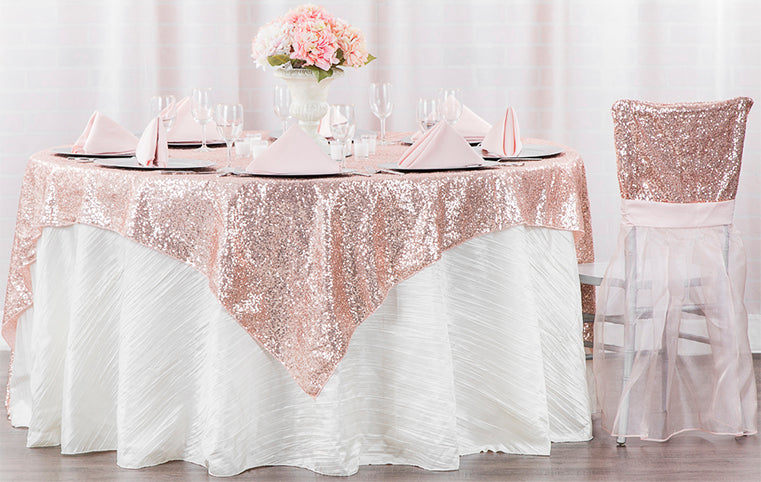 blush sequin tablecloth