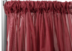 Sheer Voile 10ft H x 118″ W drape/backdrop – Apple Red