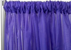 Sheer Voile 8ft H x 118″ W drape/backdrop – Purple