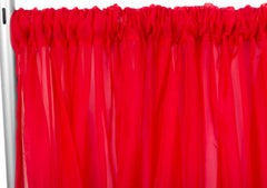 Sheer Voile 12ft H x 118″ W drape/backdrop – Red