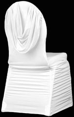 Swag Back Ruched Spandex Banquet Chair Cover – White