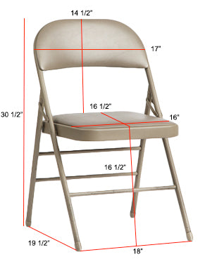 Standard Metal Folding Chair Dimensions