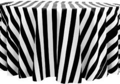 Stripe 120″ Satin Round Tablecloth – Black & White
