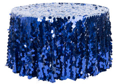 Oversize Teardrop Payette Sequin Tablecloth 120″ Round – Navy Blue