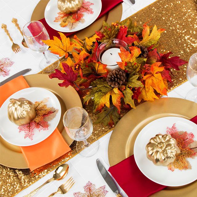 Thanksgiving table setting Orange red white pintuck polyester gold pumpkins