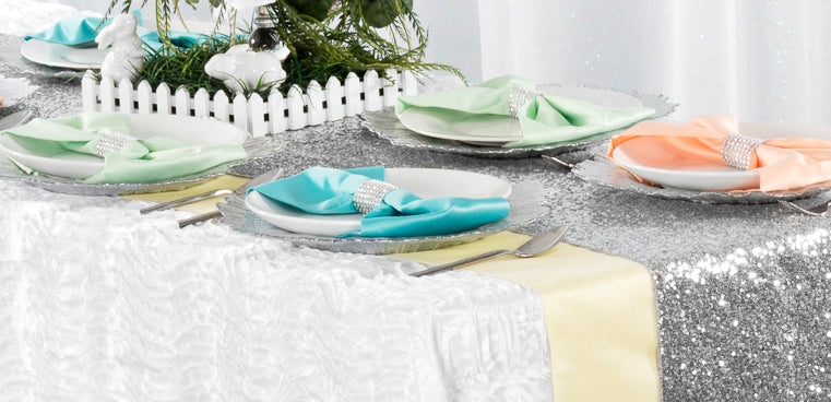 table linens sequin silver wave satin white satin yellow turquoise orange mint green