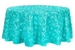 "Wedding Rosette SATIN 120"" Round Tablecloth - Light Turquoise"