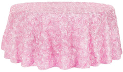 Wedding Rosette SATIN 120″ Round Tablecloth – Medium Pink