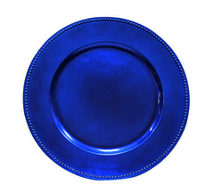 "Beaded Round 13"" Charger Plates - Royal Blue"