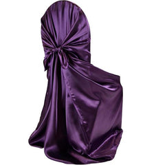 Universal Satin Self Tie Chair Cover – Plum