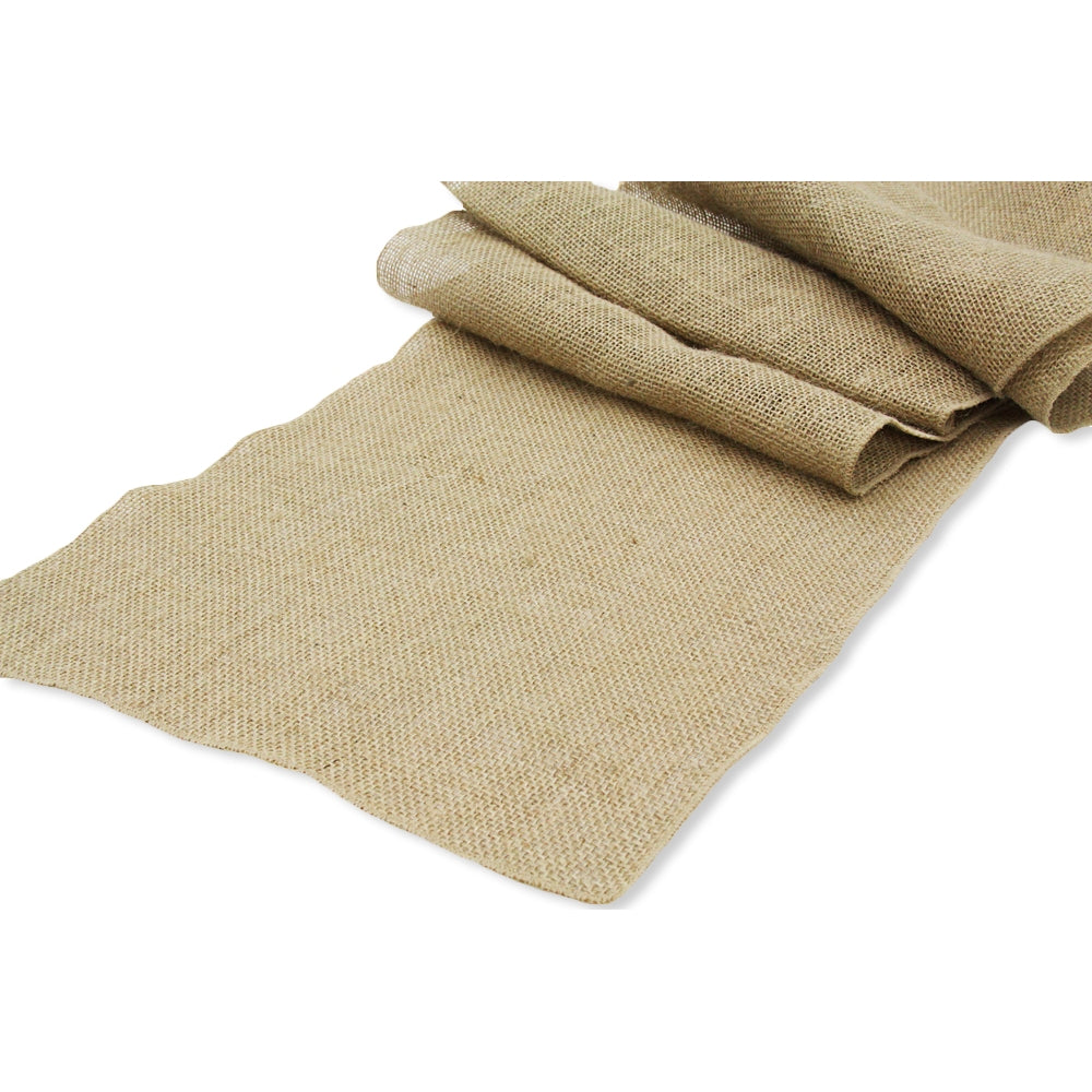 "Wide Burlap Table Runner 18""x108"" - Natural Tan"