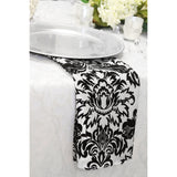 "20""x20"" Damask Flocking Napkin - Black & White"