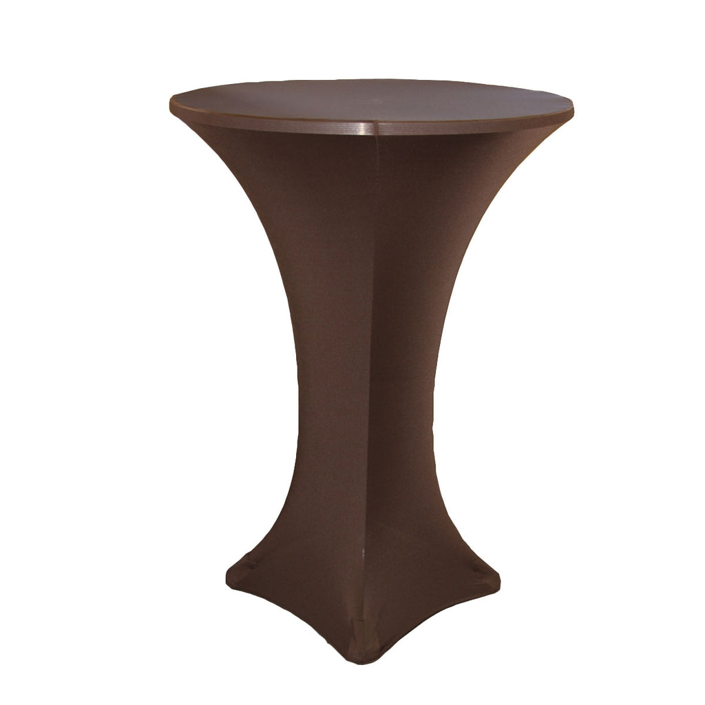 "Spandex Cocktail Table Cover 30"" Round - Chocolate Brown"