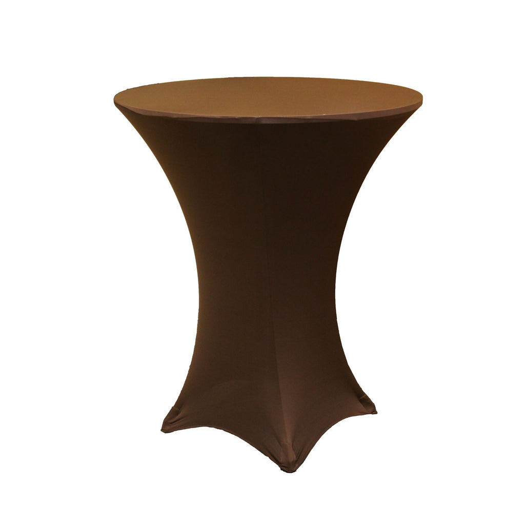 "Spandex Cocktail Table Cover 36"" Round - Chocolate Brown"