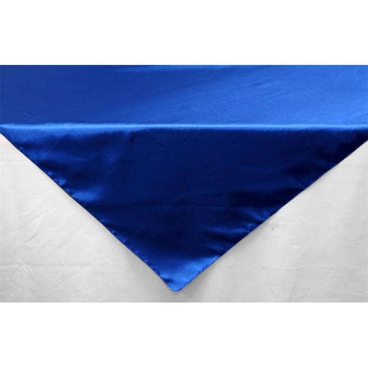 "Square 54"" Satin Table Overlay - Royal Blue"