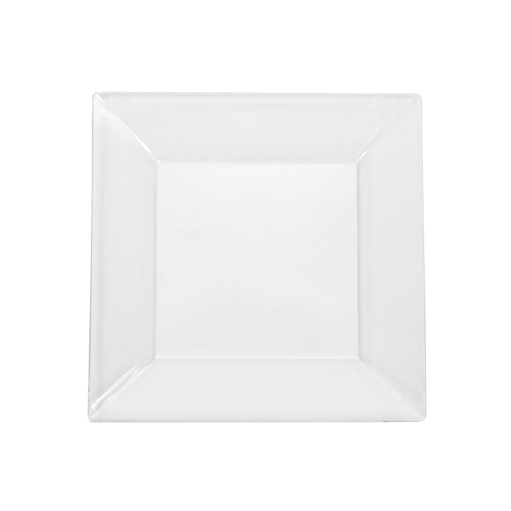 "6.5"" Square Plastic Disposable Dinner Plates (10/pk) - Clear"