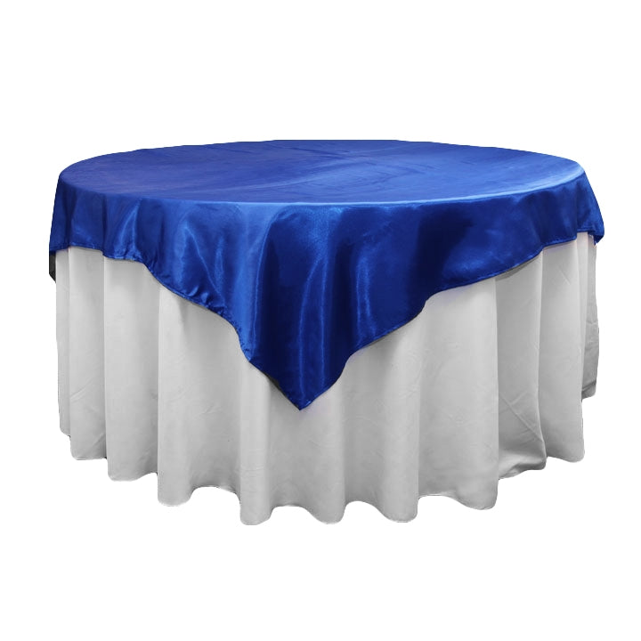 "Square 72"" Satin Table Overlay - Royal Blue"
