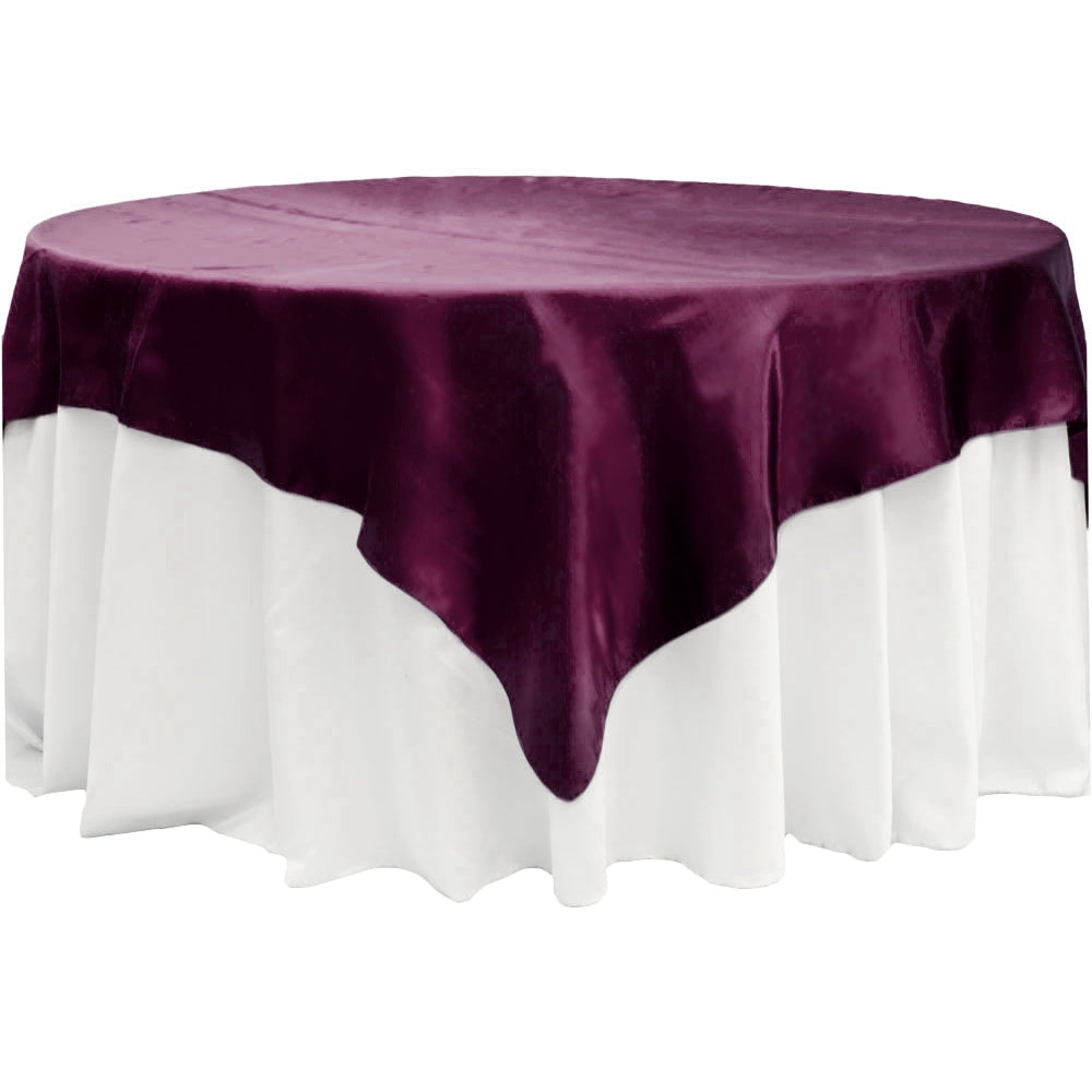 "Square 72"" Satin Table Overlay - Sangria"