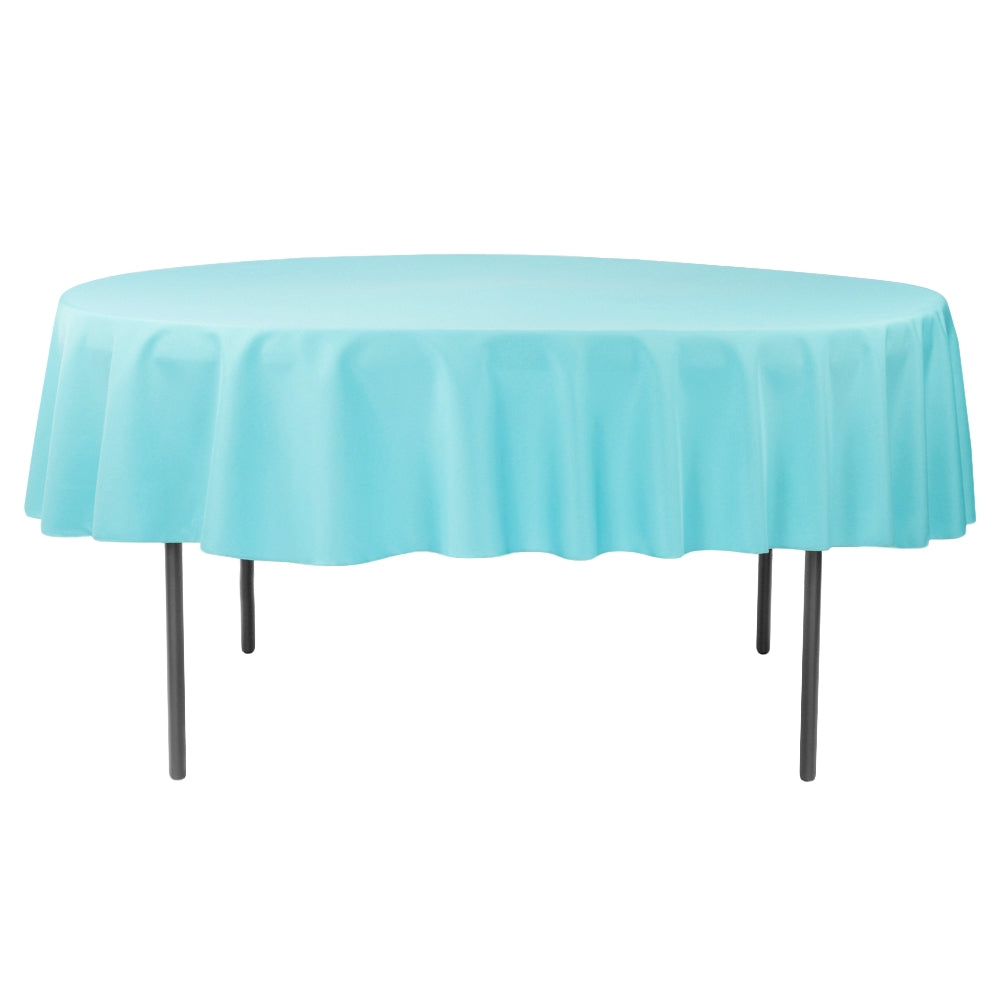 "Polyester 90"" Round Tablecloth - Aqua Blue"