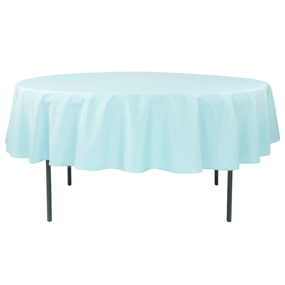 "Polyester 90"" Round Tablecloth - Baby Blue"