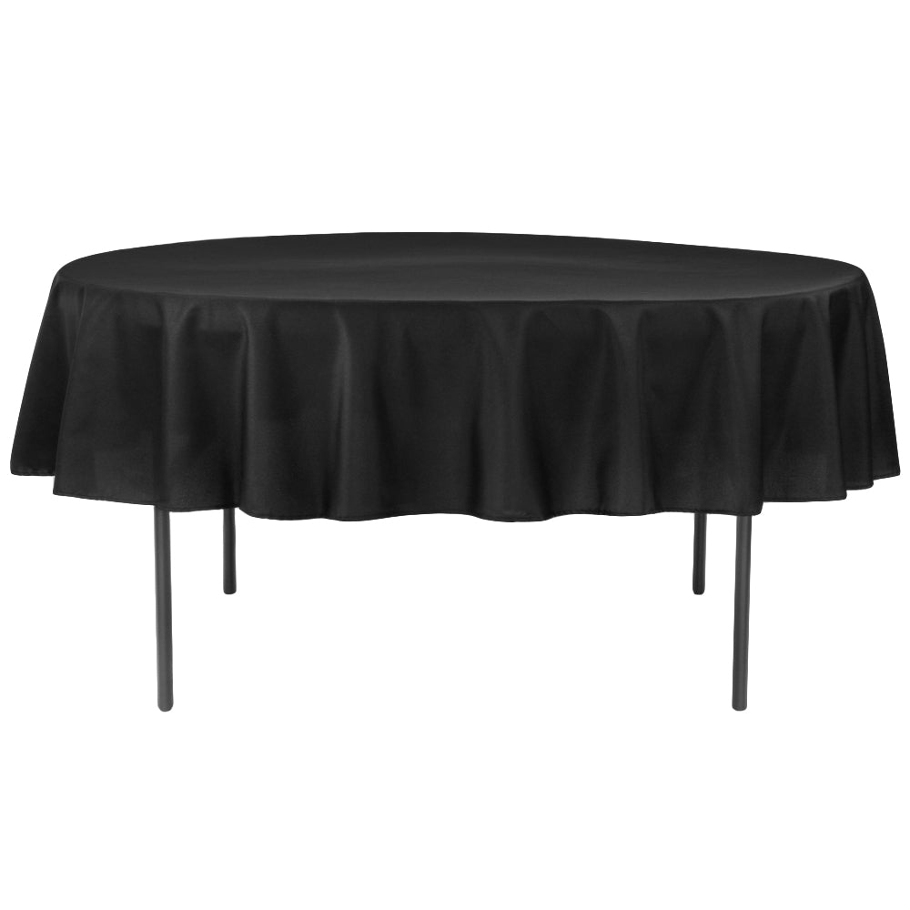 "Polyester 90"" Round Tablecloth - Black"