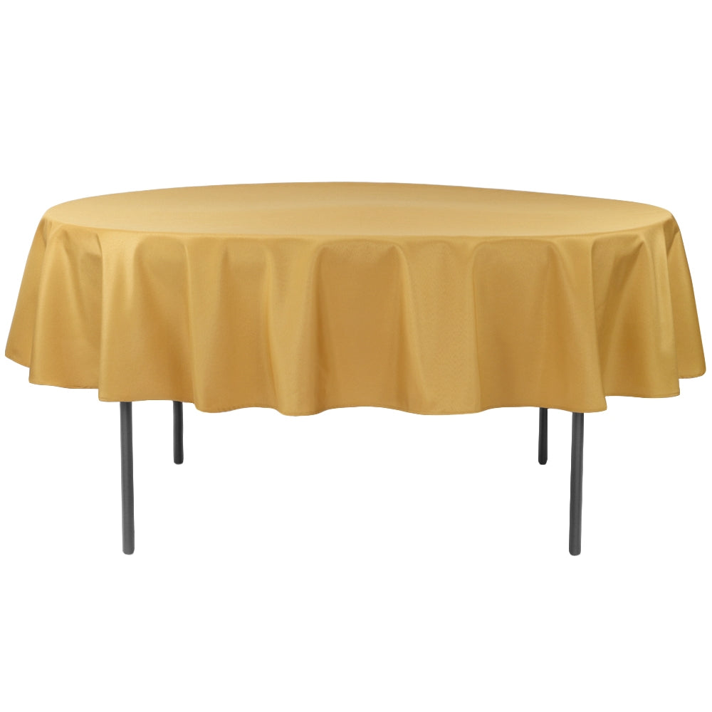 "Economy Polyester Tablecloth 90"" Round - Gold"