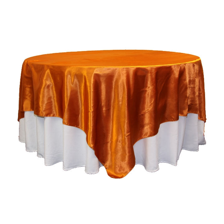 "Square 90""x90"" Satin Table Overlay - Burnt Orange"